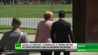 Merkel sufre fuertes temblores durante la recepción oficial al presidente ucraniano