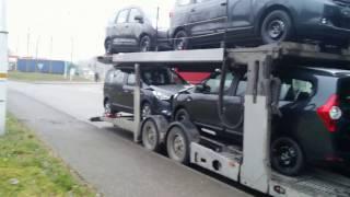 ТРАЛ.  ПОГРУЗКА 8 МАШИН DACIA.  Секреты погрузки Dacia Dokker, Sandero, Lodgy.