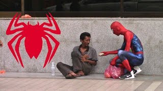 SPIDER MAN HELPING THE HOMELESS 2017