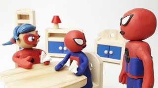 Make Paper Plane Stop Motion Baby Ladybug and Baby Spiderman Play Doh Cartoon for Kids