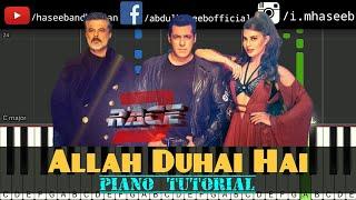 Allah Duhai Hai Race 3 Piano Tutorial | Salman Khan, | Jacqueline  | Free Midi | Haseeb and Hassan
