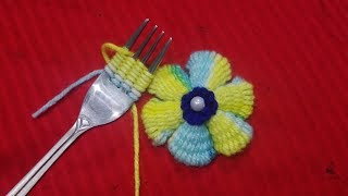 Hand Embroidery Amazing wool Flower Trick,With Spoon,Easy Flower Embroidery Trick#Sewing Hack part27