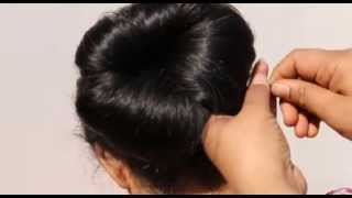 How To Do High Bun On Saree:Bridal Hair Style(Simple Hair Do)Cute Wedding High Bun