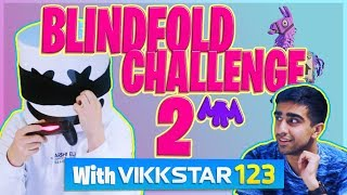 FORTNITE BLINDFOLD CHALLENGE PT. 2 w/ VIKKSTAR123   Gaming with Marshmello