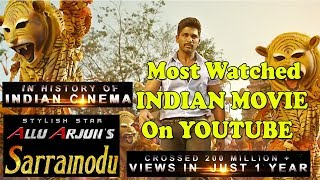 Allu Arjun Sarainodu Movie Becomes Most Watched Indian Film On Youtube With 200 Million Views