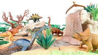 Learn Names of Dinosaurs With Takara tomy. DIY Jungle Dinosaurs Sand Toys! Volcano Island T Rex~