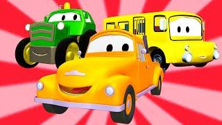 Эвакуатор Том и Автобус, Кран, Трактор, Авто Патруль   Мультфильм о машинках для детей