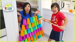 Ryan Pretend Play stacking Game with Giant Cup Wall