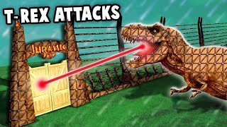 MECH T-REX vs Jurassic Park Fort!  Mechasaurus-REX Laser! (Forts New Update Gameplay Jurassic World)