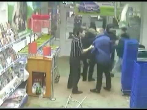 The brutal fight in supermarket Krasnoyarsk Russia fight