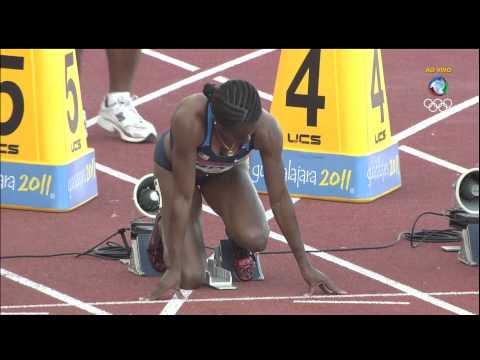 Pan Guadalajara 2011 ATLETISMO 100m Rasos Feminino Final Record HD
