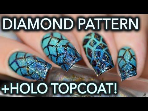 Turquoise diamond gradients and holo top coat