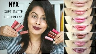NYX Soft Matte Lip Creams for Indian, Tan, Olive Skin Tone | Lip Swatches | Kavya K