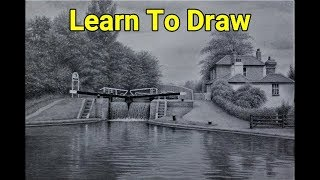 Learn To Draw, How To Draw Landscapes, Water Reflections, Trees, Buildings