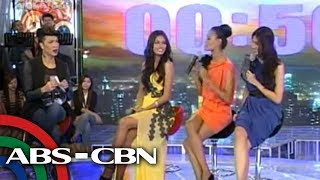Janine, Venus, Shamcey do the 'ostrich walk'