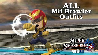 Super Smash Bros. for Wii U - ALL Mii Brawler Outfits (Includes DLC) UPDATED