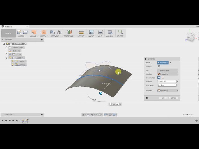 Modeling a curved flower shape in Autodesk Fusion 360