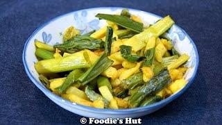Green onion  Potato stir fry-  Recipe by Foodie's Hut #0108