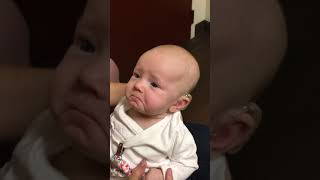 My baby hears me for the first time and is almost moved to tears!