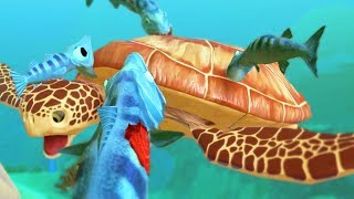 BARRACUDA FAMILY vs SEA TURTLE - Feed and Grow Fish - Part 94 | Pungence