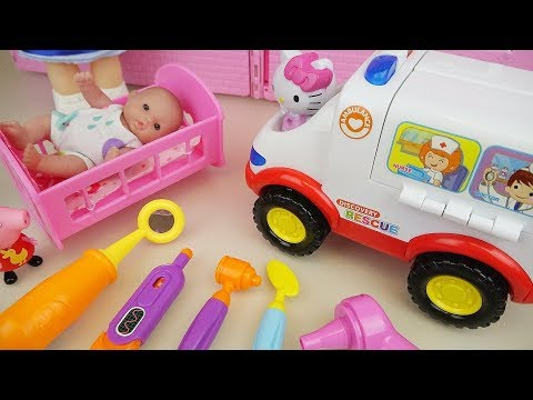 Baby Doli and doctor Hello kitty car toys baby doll play