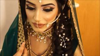 mehndi bridal makeup hair | arabic asian indian pakistani | gold smokey eye makeover nude lipstick