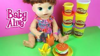 Hambúrguer e Batata Frita para Baby Alive Comilona de Massinha Play Doh