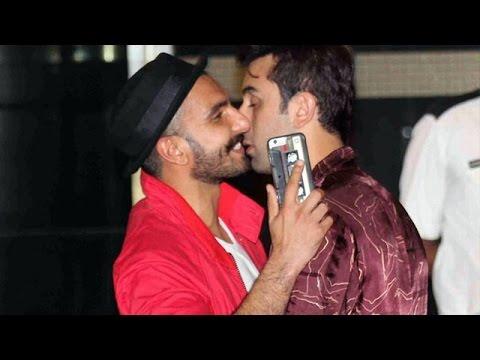 Ranbir Kapoor & Ranveer Singh HUG & KISS Each Other @ Arjun Kapoor's Bash