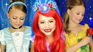 Disney Princess Makeup Compilation! Cinderella, Belle, and Ariel Makeup!