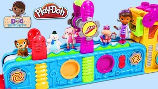Disney Jr Doc McStuffins and Friends Visit Play Doh Mega Fun Factory Playset to Open Surprise Toys!