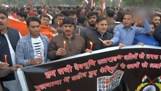 People gather at India Gate to pay tribute to slain soldiers at Connaught Place