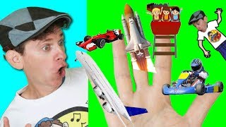 Finger Family Song - Fast Vehicles Rocket, Race Car | Action Song for Children | Learn English Kids
