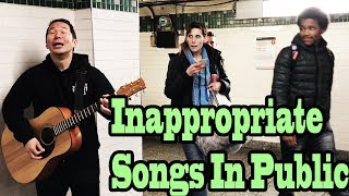 SINGING INAPPROPRIATE SONGS in the NYC SUBWAY (SINGING IN PUBLIC)
