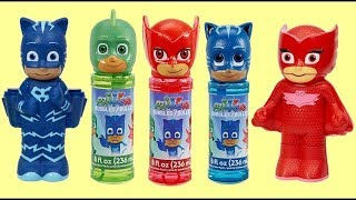 PJ MASKS Bubble Set with Owlette, Catboy & Gekko: Bath Time Fun & Surprises