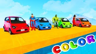 FUN LEARN COLORS COMPACT CARS w/ SUPERHEROES For Kids 3D Animation for Babies