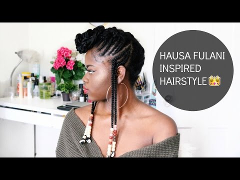HAIR TUTORIAL | HAUSA FULANI INSPIRED  HAIRSTYLE WITH BEADS|