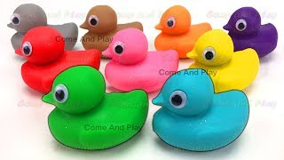 Learn Colors Play Doh Ducks Disney Lion Superhero Doraemon Peppa Pig Clay Foam Surprise Toys Kids