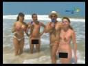 Mulher Samambaia peladinha em praia de nudismo. Panico na TV.