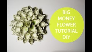 Big Money Flower Origami Tutorial Folded DIY No glue Decoration