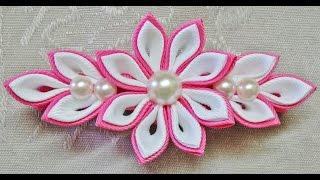 Download DIY kanzashi flower hairclip, kanzashi flower tutorial, how to, kanzashi flores de cinta 3Gp Mp4