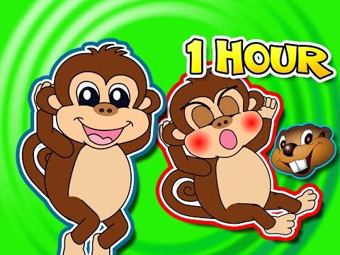 Five Little Monkeys Jumping On The Bed Plus More 1 Hour Kids Compilation Cartoon Nursery Rhymes