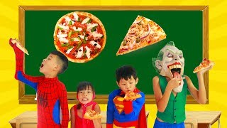 School colors Superman Fishing Spinner in Classroom w/ Spiderman paint Geometry PIZZA Learn Color