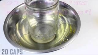 cut glass bottle w heat+oil w label gd