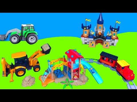 Játékautó kicsomagolás autós mese Lego Duplo traktor markoló tűzoltó magyarul