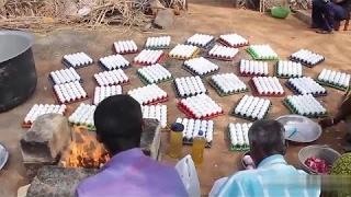 شاهد طريقة هذا الهندي في طبخ 1000 بيضة !!