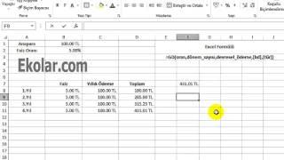 Excel Finans Anüite Hesaplama - Dönem Sonu Anüitelerin Gelecek Değeri - Annuities