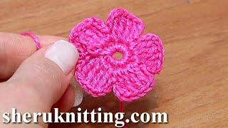 Crochet Small Five-Petal Flat Flower Tutorial 28 Part 2 of 2 Come fiori all'uncinetto