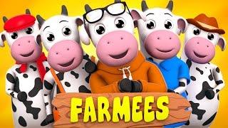 Five Little Cows | Nursery Rhymes | Kids Songs with Farmees | Baby Rhymes