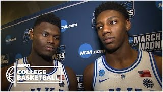 Zion Williamson when the ball rolled off the rim: 'Thank God'   NCAA Tournament Sound