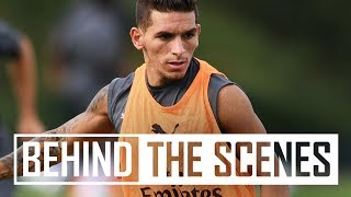 Lucas Torreira and Stephan Lichtsteiner's first Arsenal training session